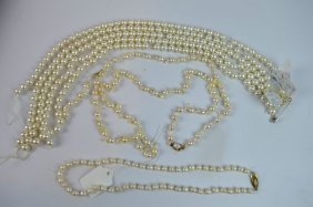 Fish-tail Pearl Necklace & Earring Set W 6 Strands