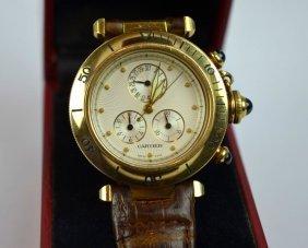 Pasha De Cartier Chronograph 18k Wristwatch