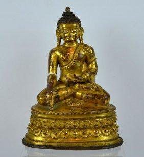 18th C Tibetan Gilt Bronze Seated Buddha on Lotus