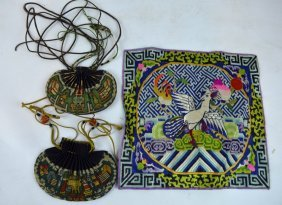2 - 18th/19th Chinese Silk Embroidered Pockets