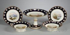 Eighteen-Piece Hand-painted Porcelain Dessert Servic