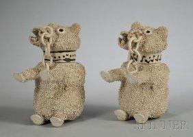 Two Similar Staffordshire White Saltglazed Stonewar