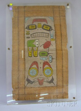 Northwest Coast Painted Mat, With Pictorial Images,