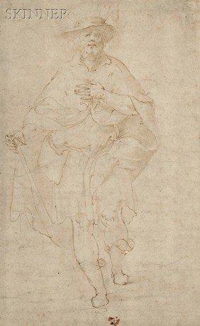 Italian School, 16th Century Pilgrim Or Male Saint