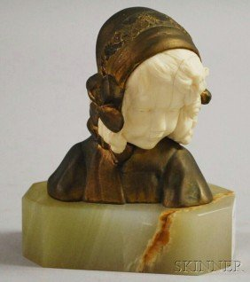 Ivorine And Bronze Bust Of A Young Girl, France, E