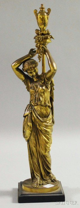 Classical Bronze Figure Of A Standing Woman, With