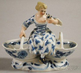 Meissen Blue And White Porcelain Two-part Open Sal