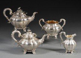 Four-piece Victorian Silver Tea Service, London, 18