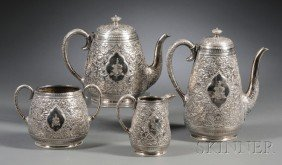 Four-piece Fenton Bros. Silver Plate Tea And Coffee