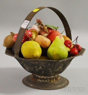 Group Of Painted Carved Stone Fruit In A Tin Foote