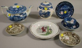 Seven Transfer-decorated Pottery Items, A Scenic T