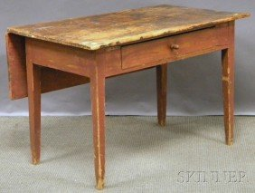 Red-painted Pine Single Drop-leaf Table With Taper