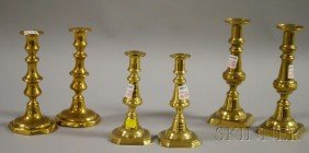 Three Pairs Of Brass Candlesticks, Ht. 7 To 8 7/8