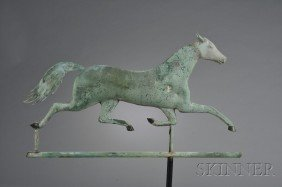 Patinated Molded Copper And Cast Zinc Running Hors