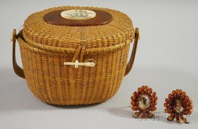 Nantucket Basket Purse And Two Painted Porcelain P