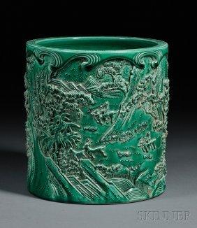 Ceramic Brush Pot, China, 19th Century, Depicting Warri