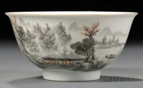 Porcelain Bowl, China, 20th Century, Round Form Depicti