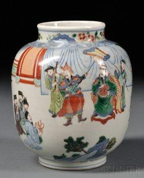 Wucai Vase, China, 18th Century, Ovoid, Depicting Warri