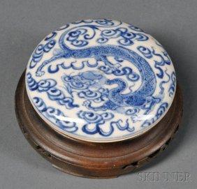 Blue And White Seal Paste Box, China, 18th Century, Fla