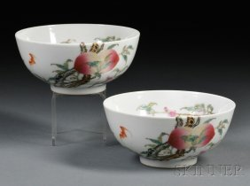 Pair Of Famille Rose Bowls, China, 18th/19th Century, D