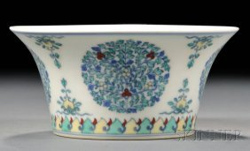 Doucai Bowl, China, 19th/20th Century, Flared Form Depi