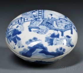 Blue And White Seal Paste Box, China, 18th Century, The