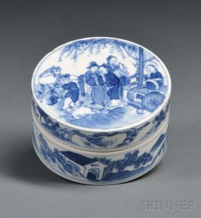 Blue And White Seal Paste Box, China, 18th Century, Cyl
