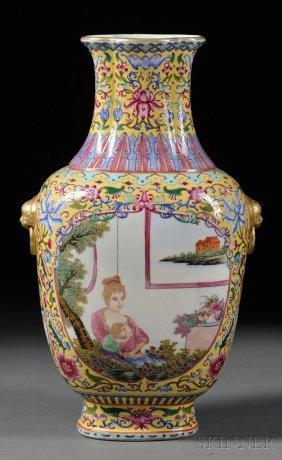 Famille Jaune Vase, China, 20th Century, Flattened Balu