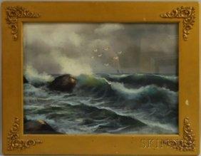 American School, 19th Century Crashing Surf. Unsig