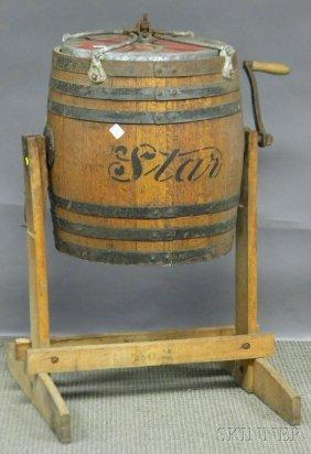 """Star"" Iron-bound Oak Barrel Butter Churn On Stand"