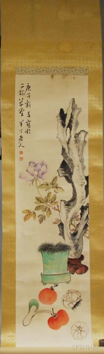 Chinese Ink And Watercolor On Paper Hanging Scroll