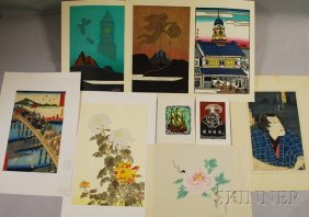 Twelve Asian Works On Paper, Including Japanese Wo