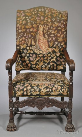 Tapestry-upholstered Carved Oak Armchair, Early 20