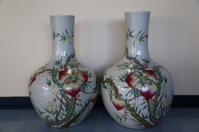 A Large Pair Of Famille Rose Vases