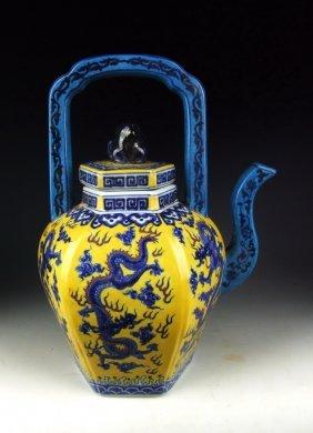 A Rare Yellow And Blue Glazed Dragon Teapot