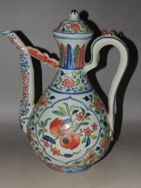 A Wucai Porcelain Teapot