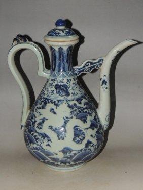 A Blue And White Porcelain Teapot