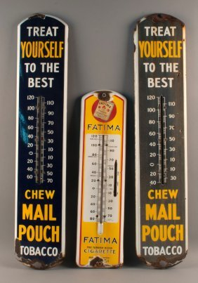 Fatima And Mail Pouch Tobacco Advertising Thermometers