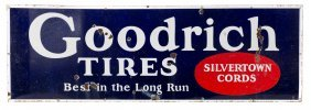 Goodrich Silvertowns Tires Horizontal Porcelain Sign