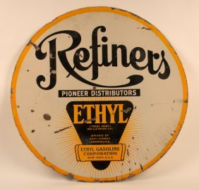 Refiner's Gasoline With Ethyl Porcelain Sign