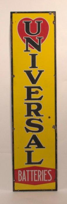 Universal Batteries Vertical Porcelain Sign