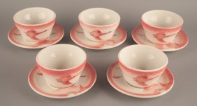 5 Milwaukee Road Traveler China Boullion Cups & Saucers