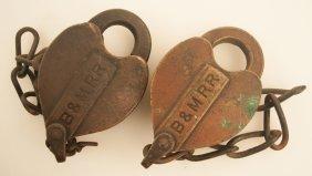 Two B&m Railroad Cast Brass Locks