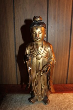 Antique Chinese Hand Carved Gilted Wood Statue