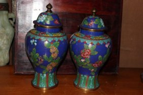 Pair Of Antique Chinese Cloisonne