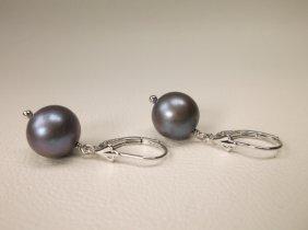 Gorgeous Sterling Silver Black Pearl Earrings