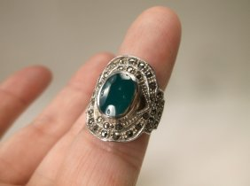 Gorgeous Sterling Silver Green Stone Ring 4