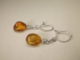 Gorgeous Sterling Silver Genuine Amber Earrings