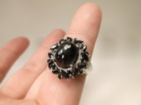 Gorgeous Sterling Silver Black Stone Ring 6