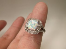 Gorgeous Sterling Silver Opal Ring 4.5